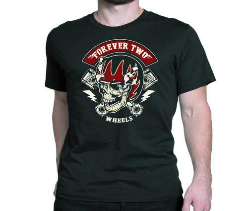 Tee shirt forever two wheels cafe racer